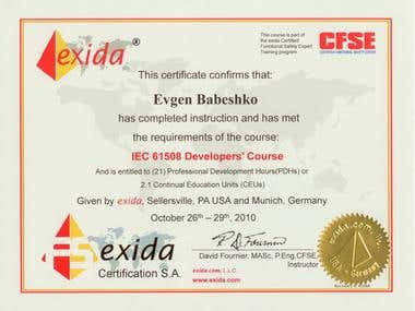 Certificate Exida