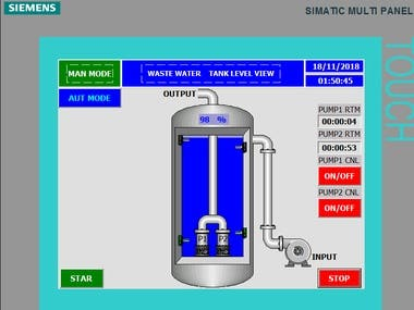 Waste Water Tank process PLC program, and SCADA