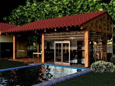 3d swimming pool area
