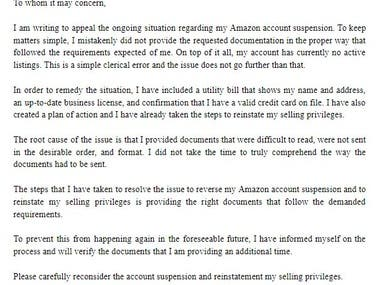 Amazon appeal letter