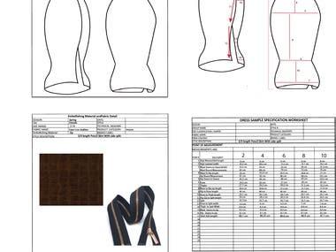 Pencil Skirt Tech Pack Design in Illustrator.