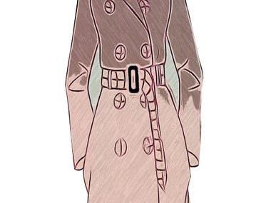 Trench Coat Illustration design in illustrator.