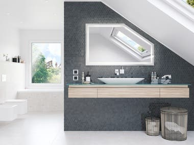 Product Viusalization of Bathroom mirrors