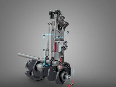 Engine Assembly Explained 3D model and render