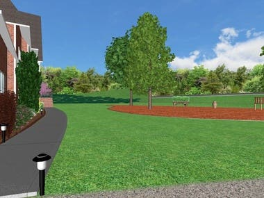 3D residential design with overhead view site plan