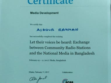 Certificate on Media Development