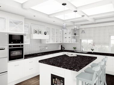 Kitchen - Dining - Living design for new villa