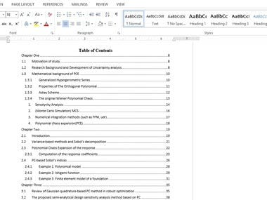 Table of contents preparation (Automatic) and formating
