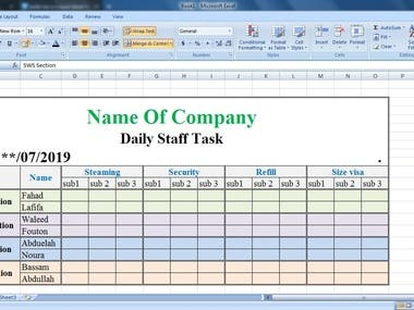 An excel sheet for the staff task