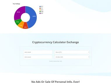 Cryptocurrency Calculator page