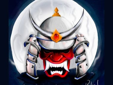 Digital Paint Art- Oni Warrior Mask