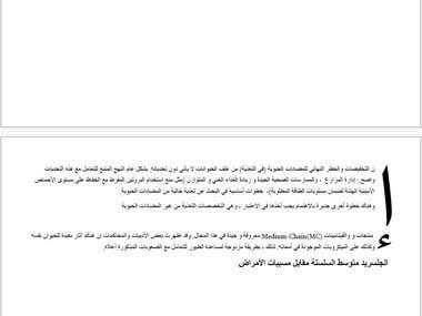 English to Arabic translation sample.