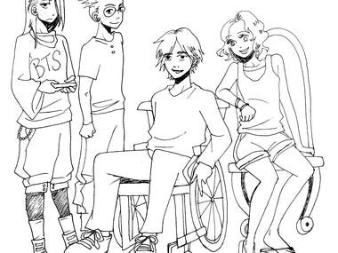 4 young teens lineart