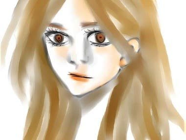 (colouredsketch)realisticish/animeish portrait of girl face