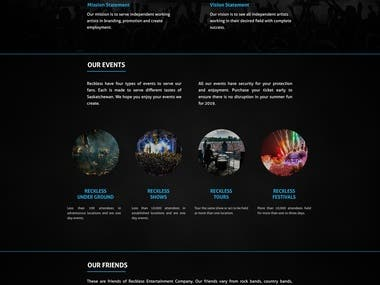 Events website using laravel