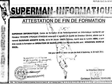 ATTESTATION DE FORMATION EN OPERATION DE SAISIE