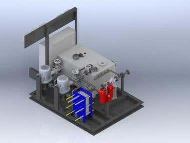 Lubrication oil Filtration and pumping unit-3D Modelling