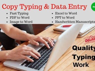 copy typing, handwriting work Marathi, Hindi, English