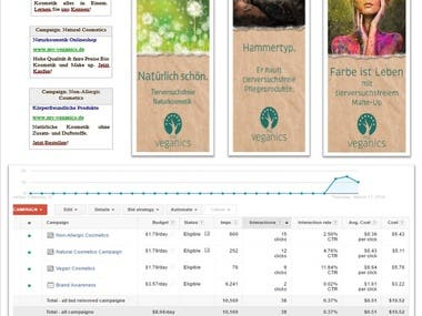 Google Ads Search and Display Campaign for Veganics E-Shop