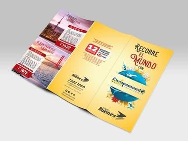 Encarte tríptico de Agencia de Viaje para banco de plaza