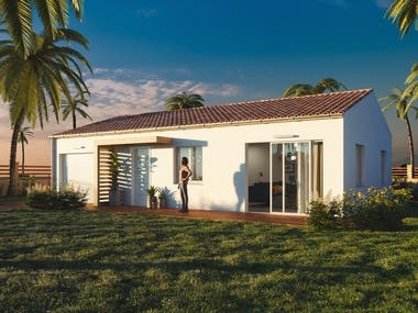 Exterior house render in France