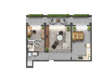 Apartmen Plan Renderings