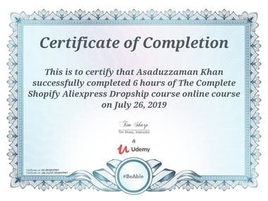 The Complete Shopify Aliexpress Dropship course Certificate