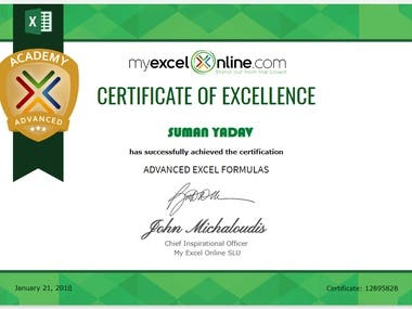 certificate of excellence excel