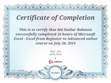Excel And Data Entry Certificate
