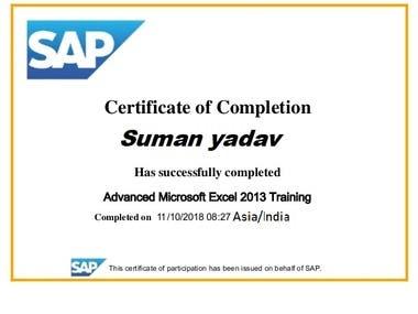 SAP certificate in excel