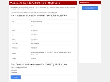 India All Bank IFSC - MICR Code