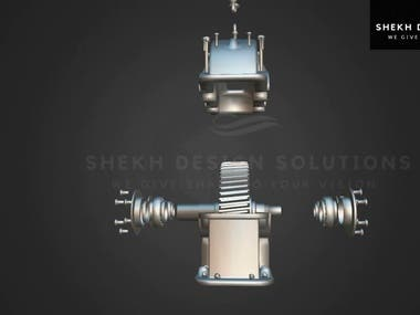 Gear Box Design & render animation