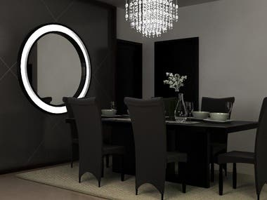 Interior Design of Living and Dinning Room