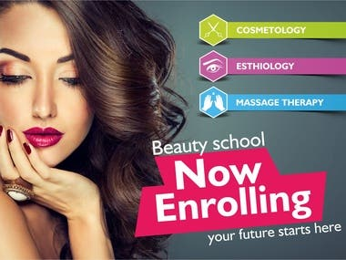 Creative banner for beauty school