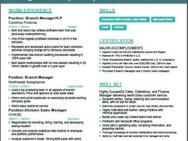 Design and write professional resume