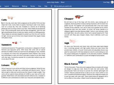 Copy writing/Product description