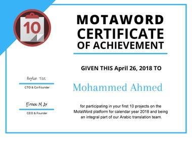 Motaword certificate