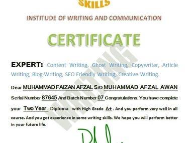 Specialization Certificate in Writing