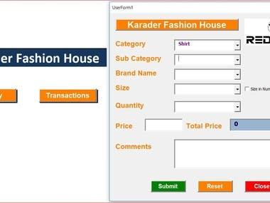 Excel VBA (Macro) application to Textile Retailer
