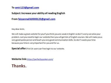 Email to client for using our website/copywriter