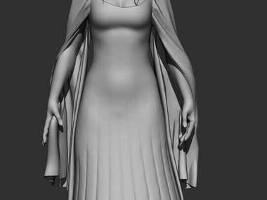 Fantasy girl modelling and sculpting