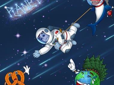 Cartoon song cover art work