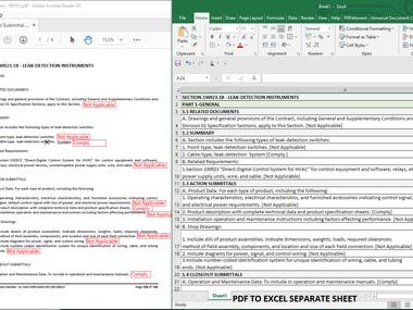 DATA ENTRY WORK PDF TO EXCEL SEPARATE SHEET ENTRY.