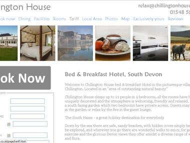Website design for a successful Bed and Breakfast, Devon, UK