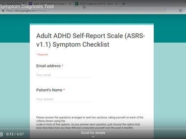 Adult ADHD Symptom Diagnosis Tool