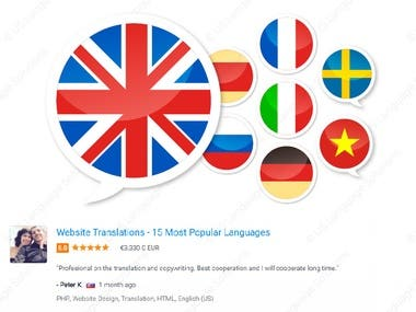 English to 15 Different Languages Translations