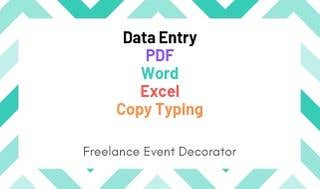 Data Entry, PDF, Word, Excel, Copy, Typing