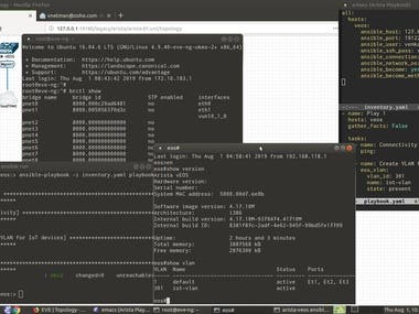 Screenshot: Arista vEOS instance in EVE-NG with Ansible