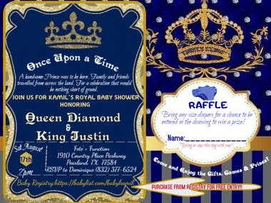 """Once Upon A Time"" Royal Blue Prince Baby Shower Invitation"