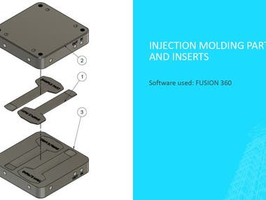 Injection molding part and inserts created in FUSION 360